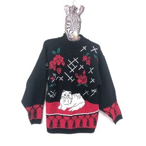 VINTAGE Knit Sweater with Cat & Roses